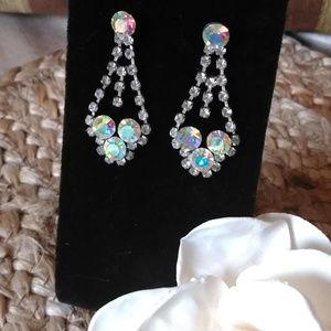 Jewelry - Vintage Iridesent Rhinestone Statement Earrings